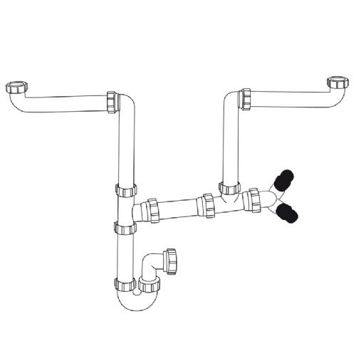 Caple CPK200 Two Bowl Under Sink Pipework Plumbing Kit